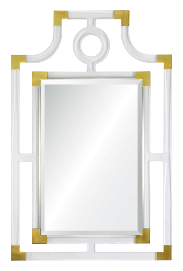 20384 Acrylic & Brass Pagoda Mirror by Mirror Image Home | Fig Linens