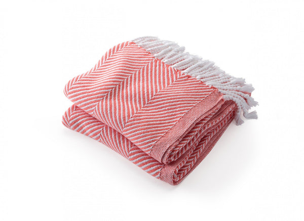 Monhegan Coral Herringbone Throw by Brahms Mount | Fig Linens