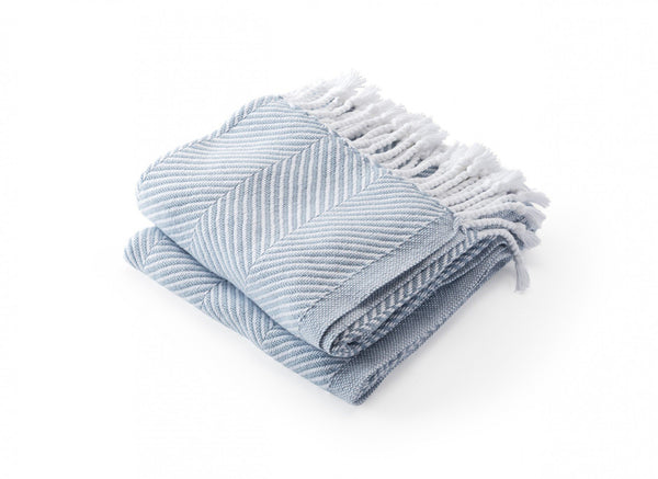 Monhegan Misty Blue Herringbone Throw by Brahms Mount | Fig Linens