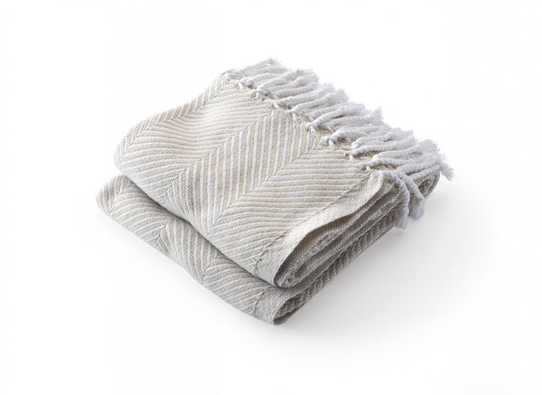 Monhegan Oyster Herringbone Throw by Brahms Mount | Fig Linens