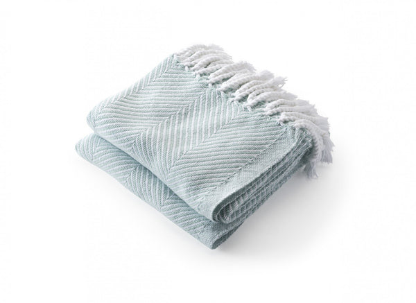 Monhegan Surf Herringbone Throw by Brahms Mount | Fig Linens