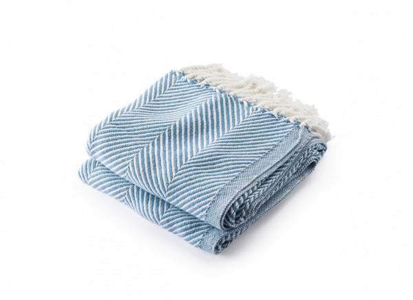 Monhegan Denim Herringbone Throw by Brahms Mount | Fig Linens