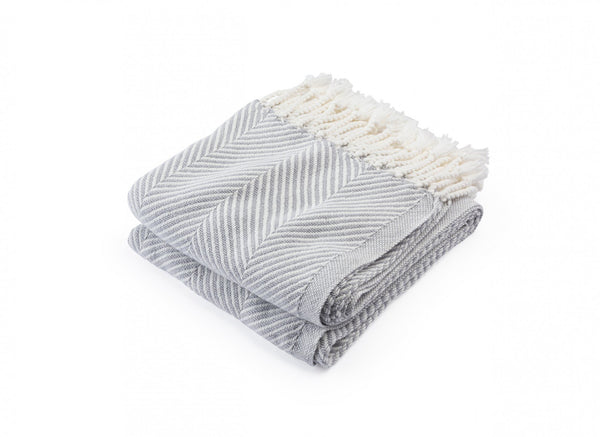Monhegan Dove Gray Herringbone Throw by Brahms Mount | Fig Linens