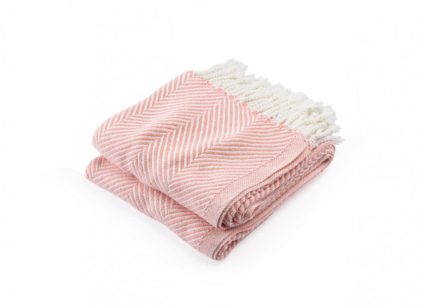 Monhegan Papaya Herringbone Throw by Brahms Mount | Fig Linens