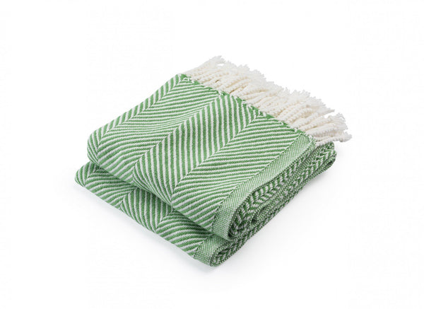 Monhegan Sugar Snap Herringbone Throw by Brahms Mount | Fig Linens