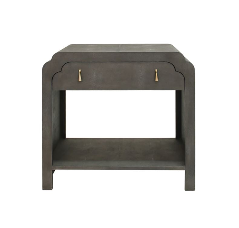 Grey Shagreen Side Table with Drawer by Worlds Away | Fig Linens