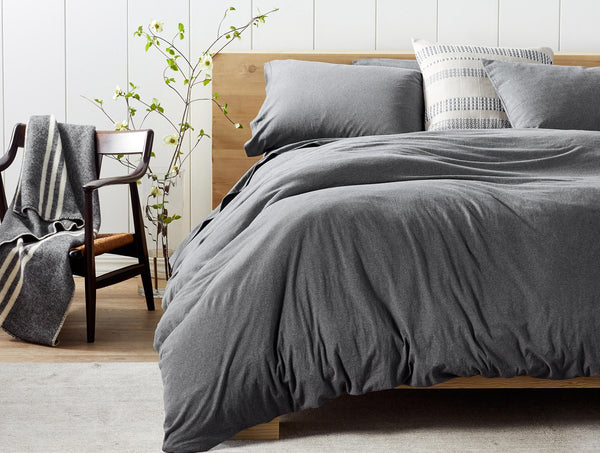 Charcoal Heather Organic Jersey Bedding by Coyuchi | Fig Linens