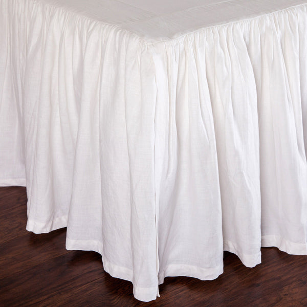 Fig Linens - Pom Pom at Home Bedding - White gathered bed skirt