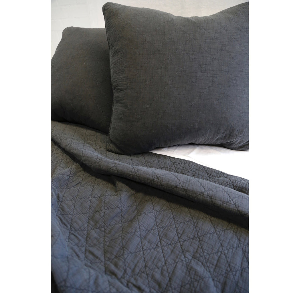 Fig Linens - Pom Pom at Home Bedding - Huntington Midnight large euro sham