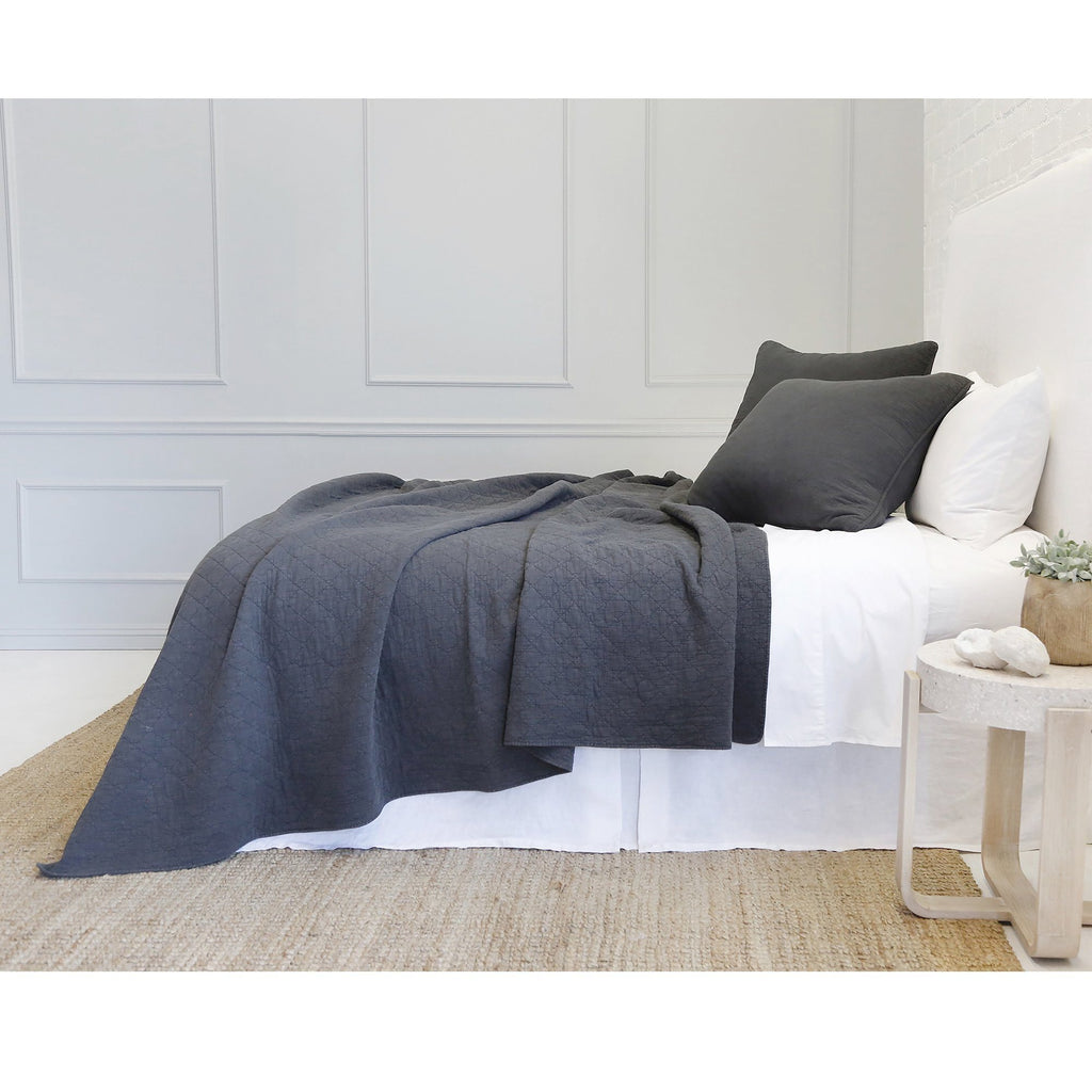 Fig Linens - Pom Pom at Home Bedding - Huntington Midnight Coverlet and euro sham