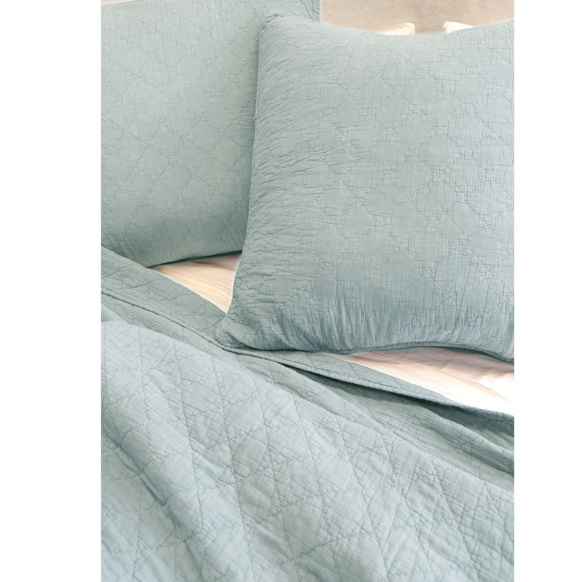 Fig Linens - Pom Pom at Home Bedding - Huntington Sea Glass quilted coverlet and large euro sham