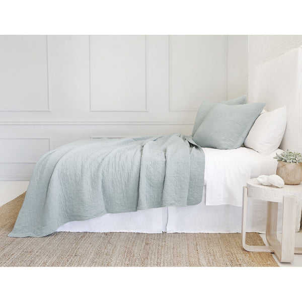 Fig Linens - Pom Pom at Home Bedding - Huntington Sea Glass Coverlet and large euro sham