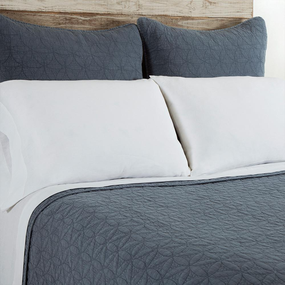 Fig Linens - Pom Pom at Home Bedding - Oslo Blue Quilted Coverlets and Shams