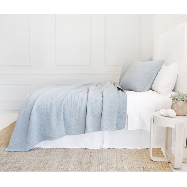Fig Linens - Pom Pom at Home Bedding - Blue Coverlet and shams Collection