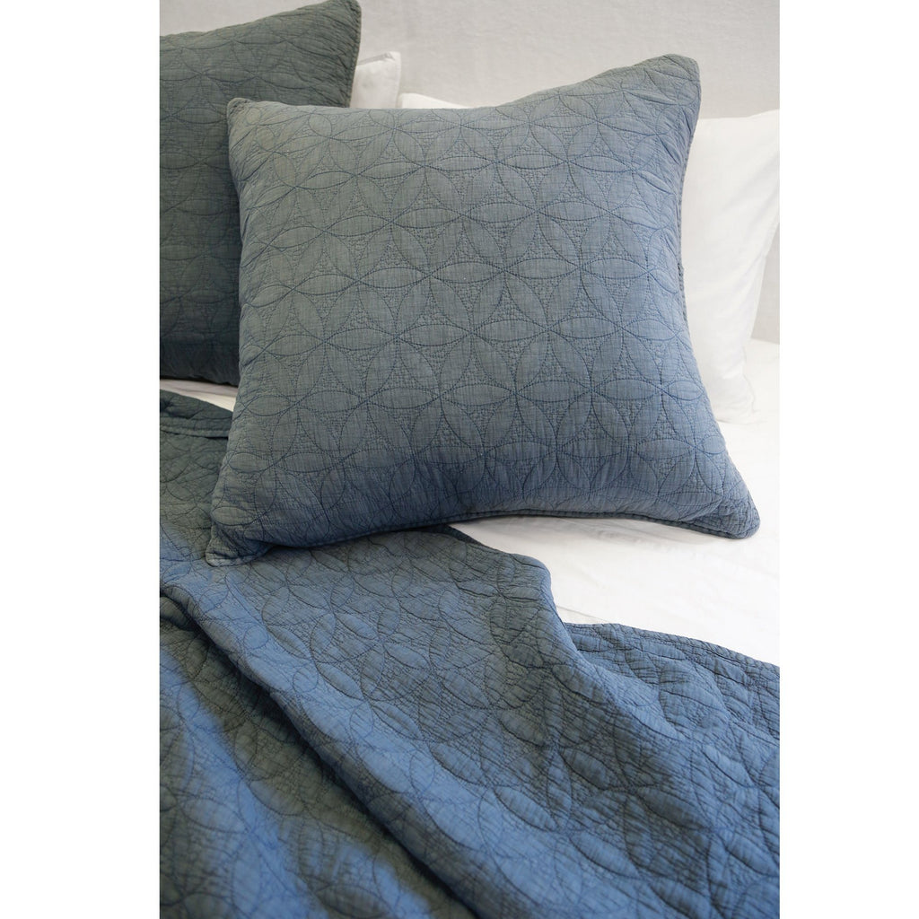 Fig Linens - Pom Pom at Home Bedding - Oslo Blue Large Euro Shams
