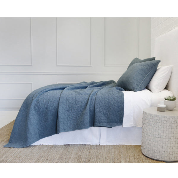 Fig Linens - Pom Pom at Home Bedding - Oslo Blue Coverlets and Shams