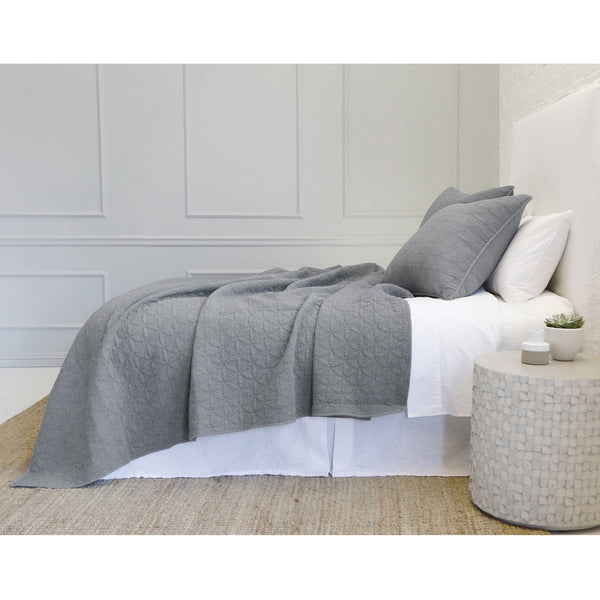 Fig Linens - Pom Pom at Home Bedding - Oslo Denim Grey Coverlets and Shams