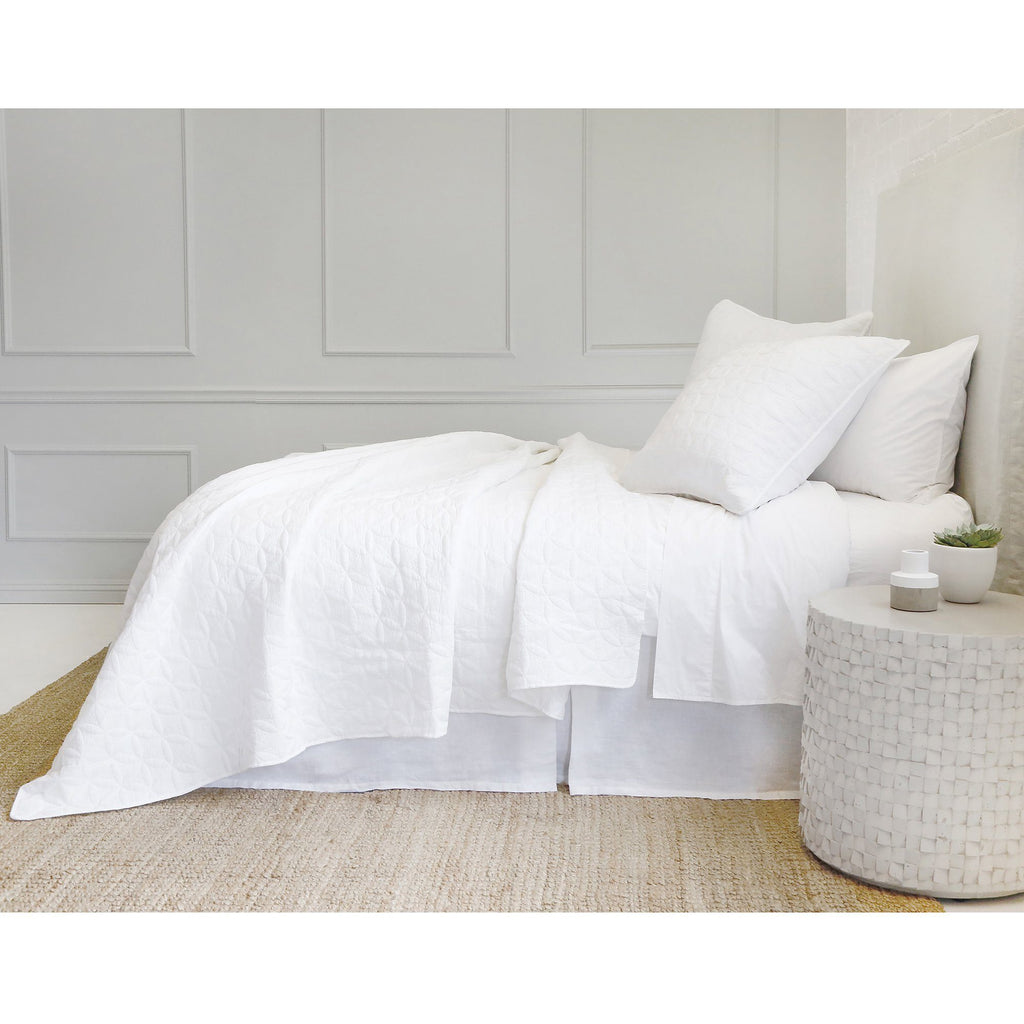 Fig Linens - Pom Pom at Home Bedding - Oslo White quilted coverlet and shams