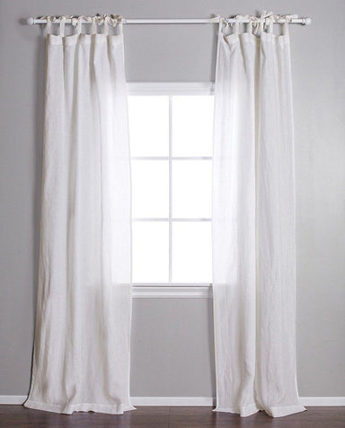 Fig Linens - Pom pom at home cream linen curtain with tie top