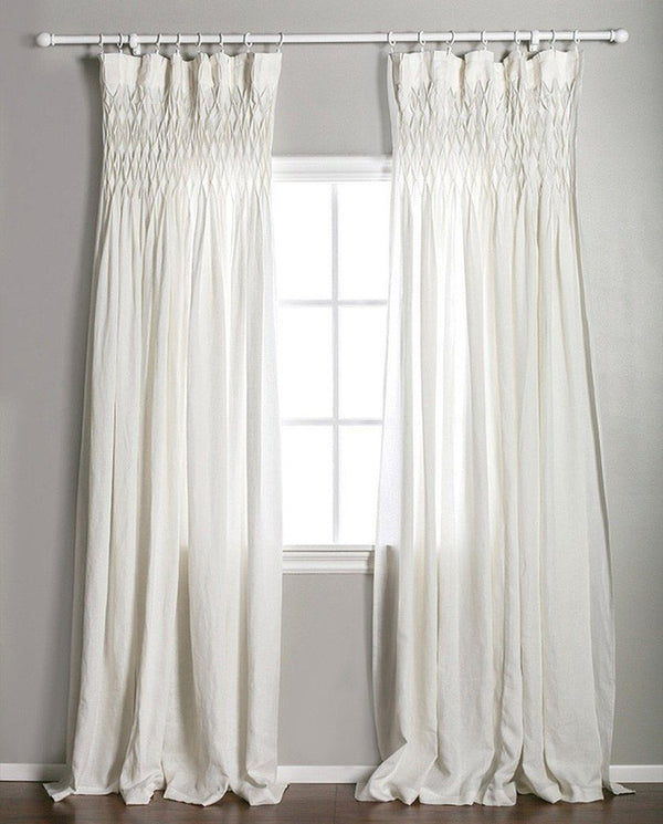 Pom Pom at Home - Smocked Sheer Cream Linen Curtains | Fig Linens