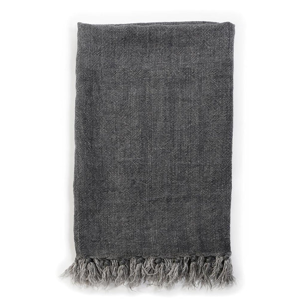Pom Pom at Home - Montauk Charcoal Linen Blanket-| Fig Linens