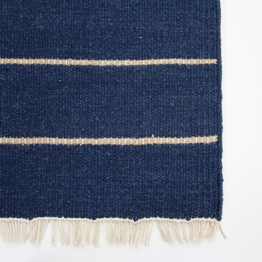Pom Pom at Home - Warby Navy Wool Area Rugs with Fringe | Fig Linens