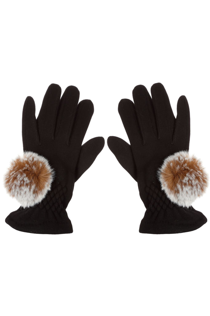 Black Touch Screen Gloves with Pom Poms by Evelyne Prélonge | Fig Linens