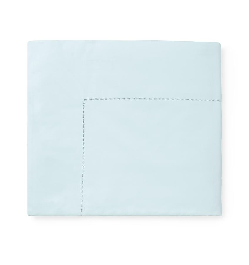 Celeste Sheeting by Sferra | Fig Linens - Aquamarine Flat Sheet