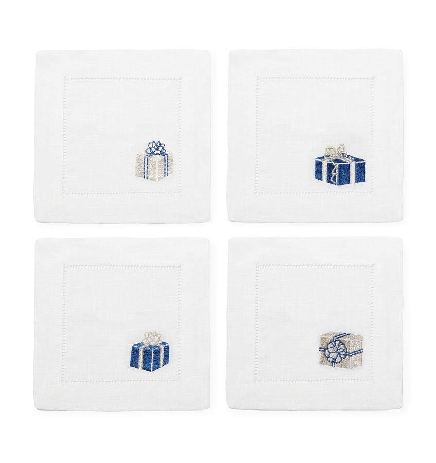 Blue & Silver Cocktail Napkins by Sferra | Fig Linens