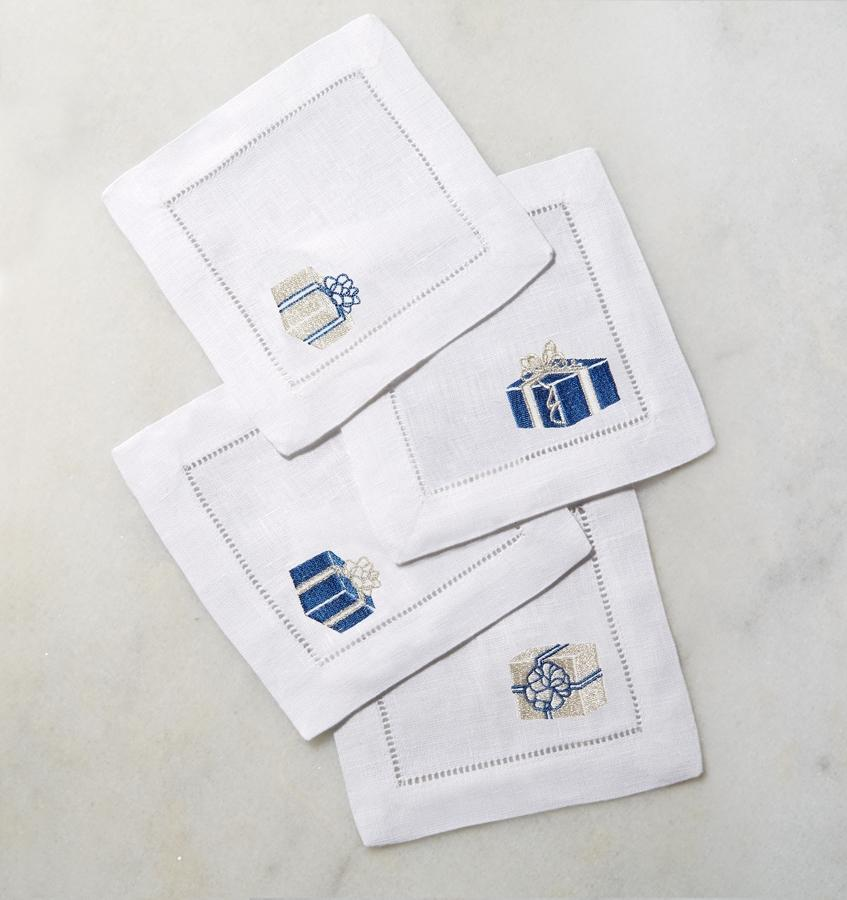 Blue & Silver Holiday Cocktail Napkins by Sferra | Fig Linens