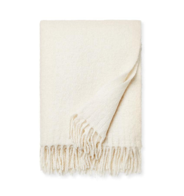 Motto Ivory Throw Blanket by Sferra | Fig Linens and Home
