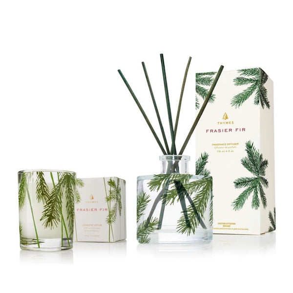 Thymes Frasier Fir Petitie Diffuser & Candle Set | Fig Linens and Home