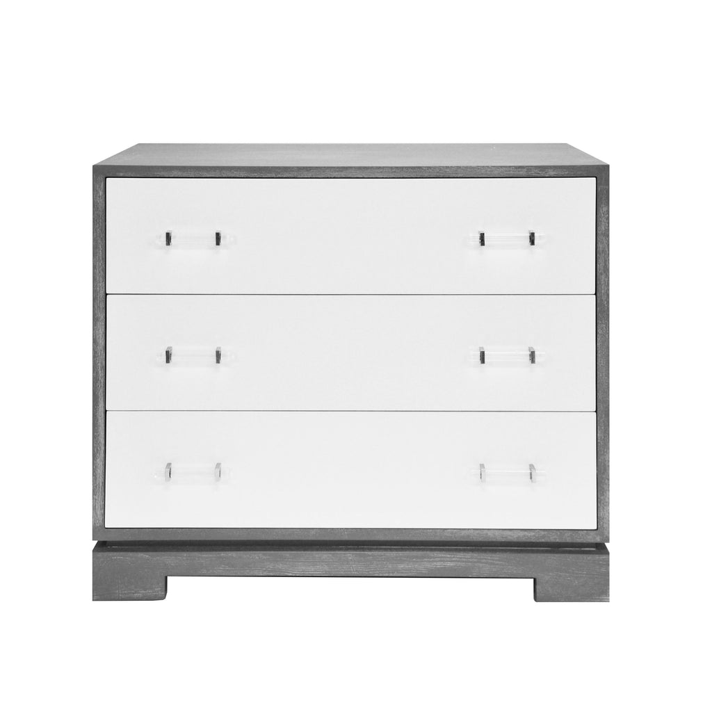 White Lacquer & Grey Cerused Oak Dresser | Fig Linens and Home