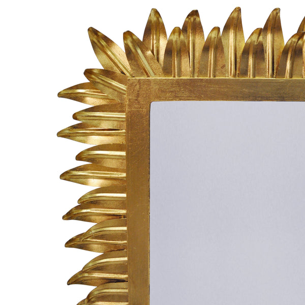 Caesar Gold Wall Mirror with Leaf Frame  by Worlds Away | Fig Linens and Home