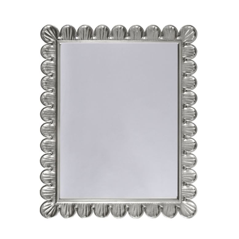 Eliza Silver Scalloped Mirror by Worlds Away