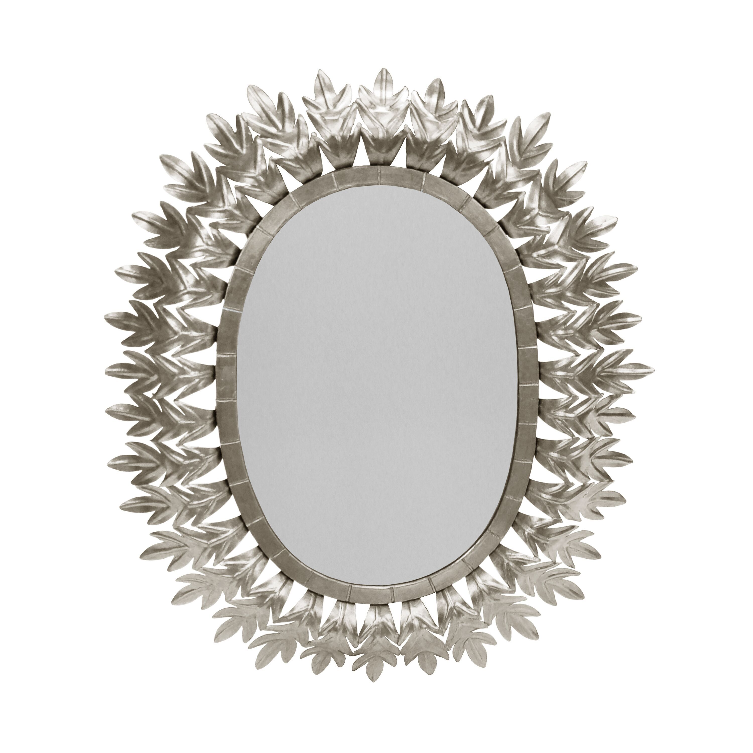 Lona Silver Oval Mirror by Worlds Away