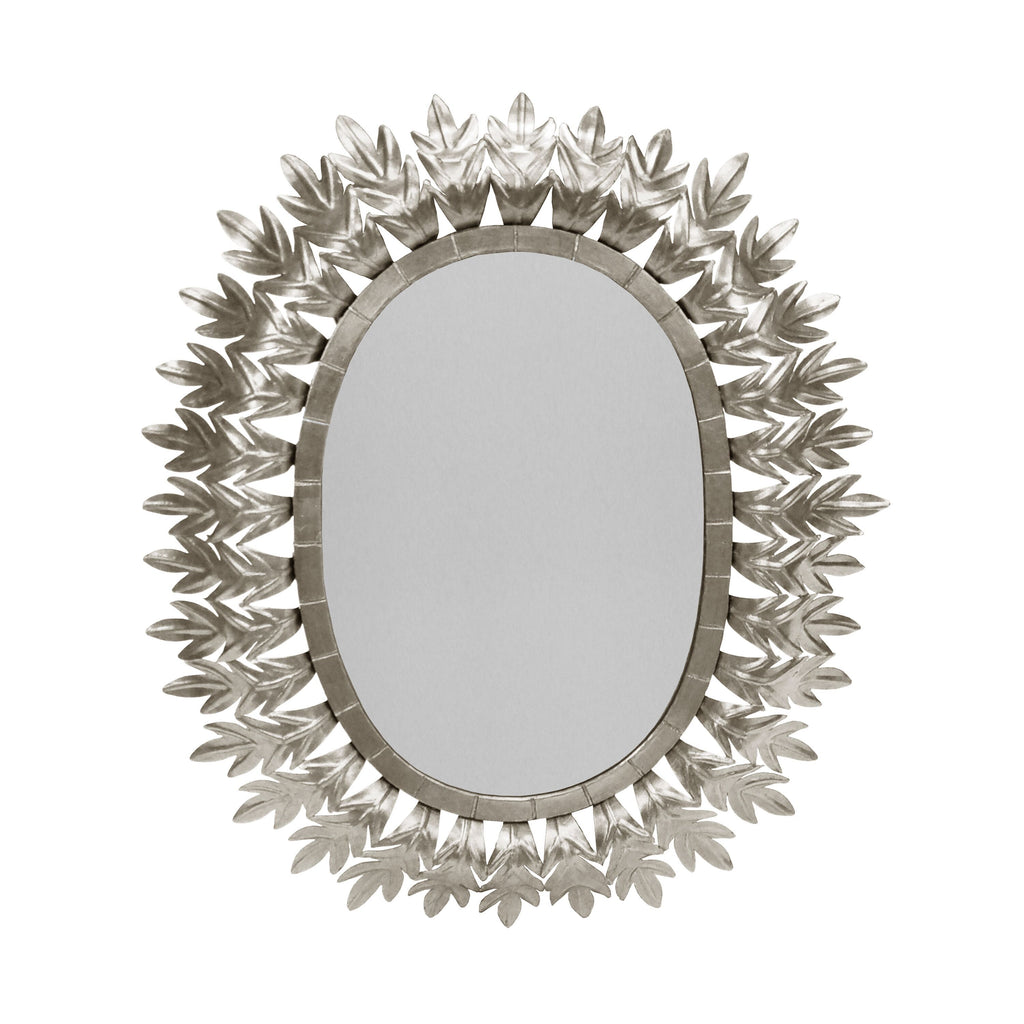 Lona Silver Oval Mirror by Worlds Away | Fig Linens and Home