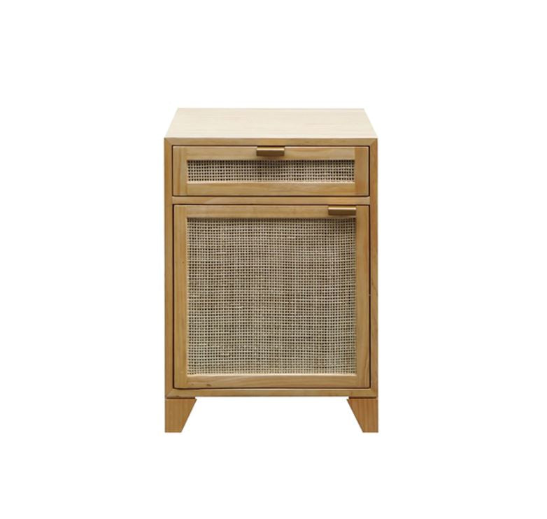 Pine Nightstand with Cane Front Door by Worlds Away | Fig Linens