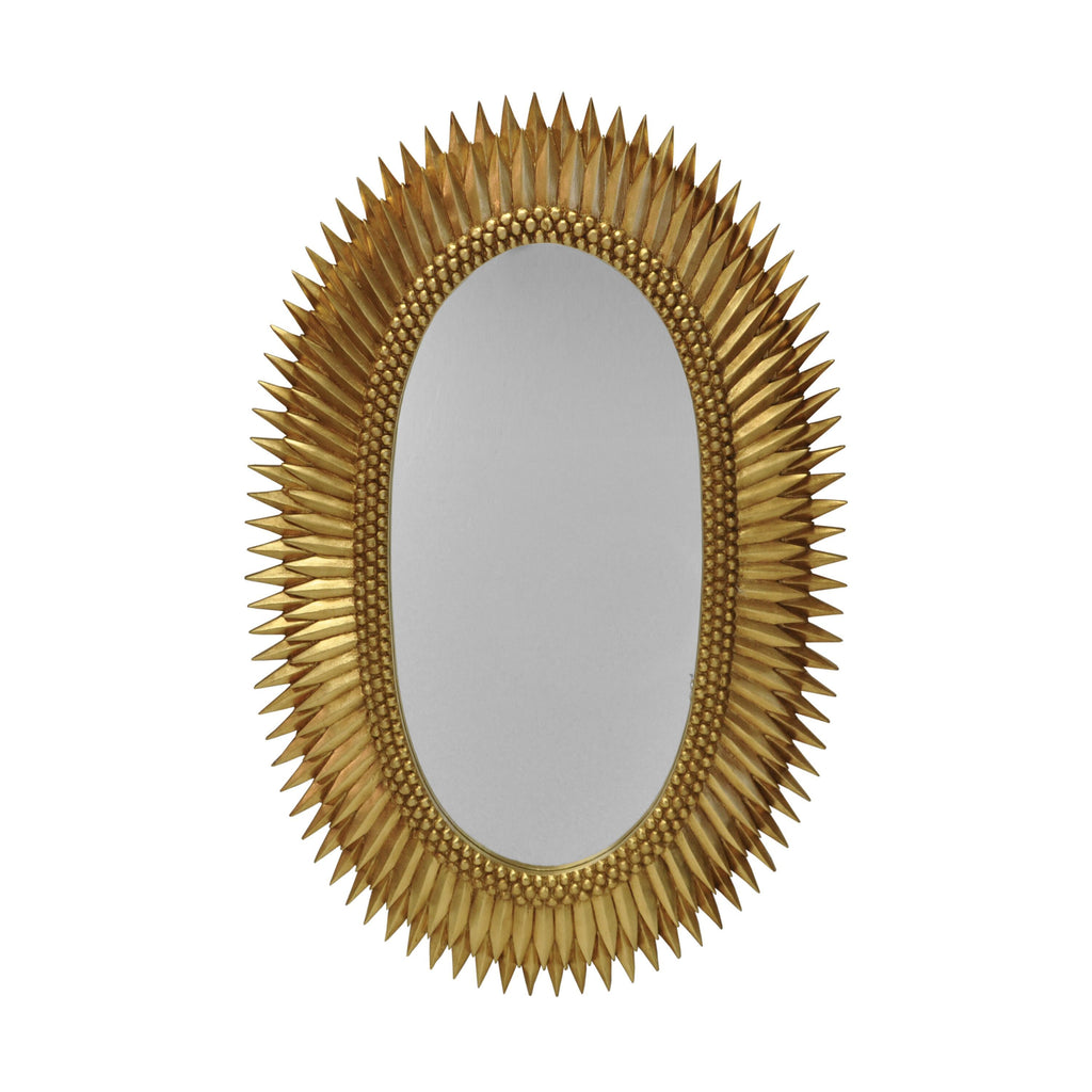 Rita Gold Oval Mirror by Worlds Away | Fig Linens and Home
