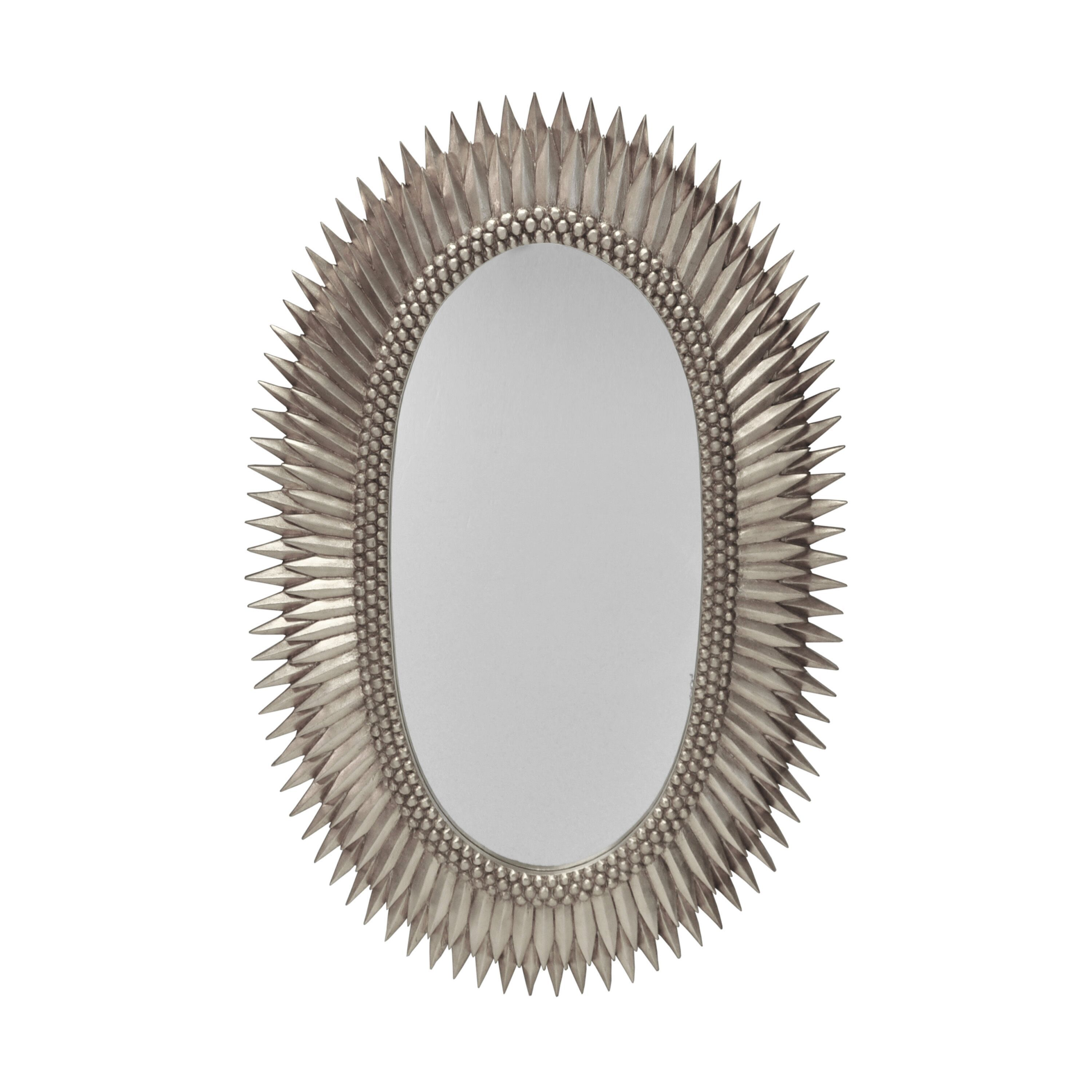 Rita Silver Oval Wall Mirror by Worlds Away
