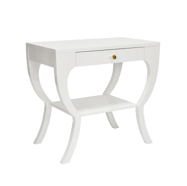 White Side Table with Drawer by Worlds Away | Fig Linens