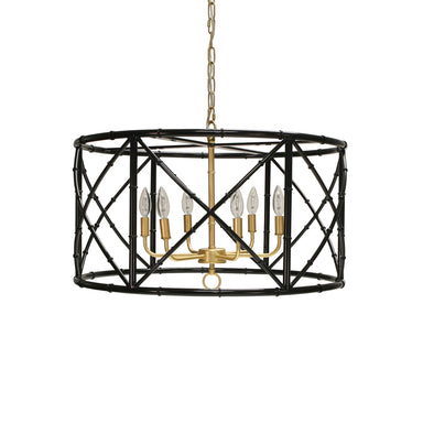 Zia Black Bamboo Chandelier by Worlds Away | Fig Linens and Home