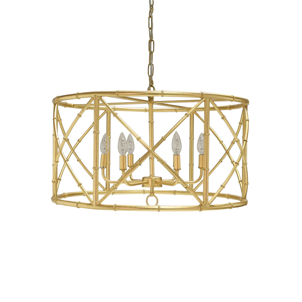 Zia Gold Leaf Bamboo Chandelier by Worlds Away | Fig Linens