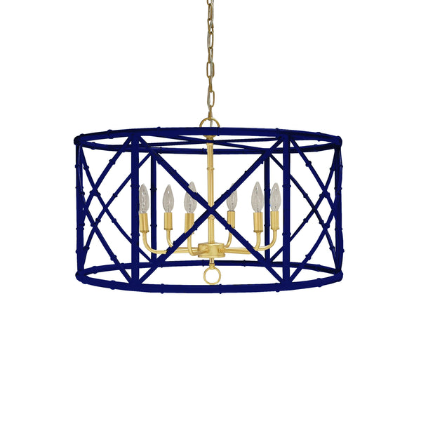 Zia Navy Bamboo Chandelier by Worlds Away | Fig Linens and Home
