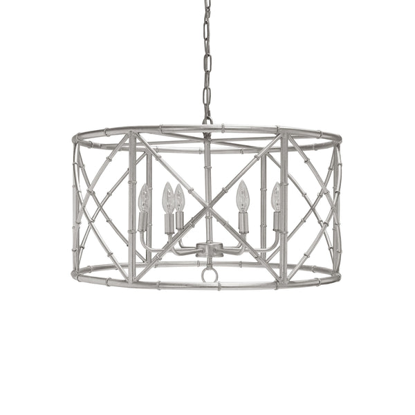 Zia Silver Bamboo Chandelier by Worlds Away | Fig Linens and Home