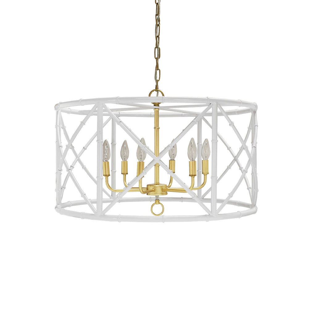 Zia White Bamboo Chandelier by Worlds Away | Fig Linens