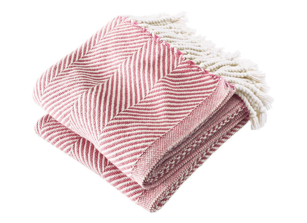 Monhegan Grenache Herringbone Throw by Brahms Mount | Fig Linens