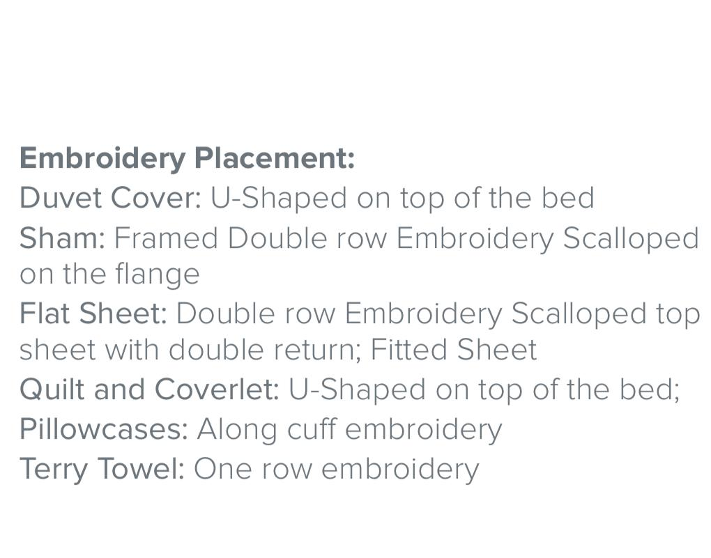 Fig Linens - Dea Linens - St. Malo Embroidered Bedding - Embroidery Placement