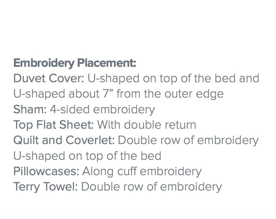Fig Linens - Dea Linens -Strie Bedding - Embroidery placement
