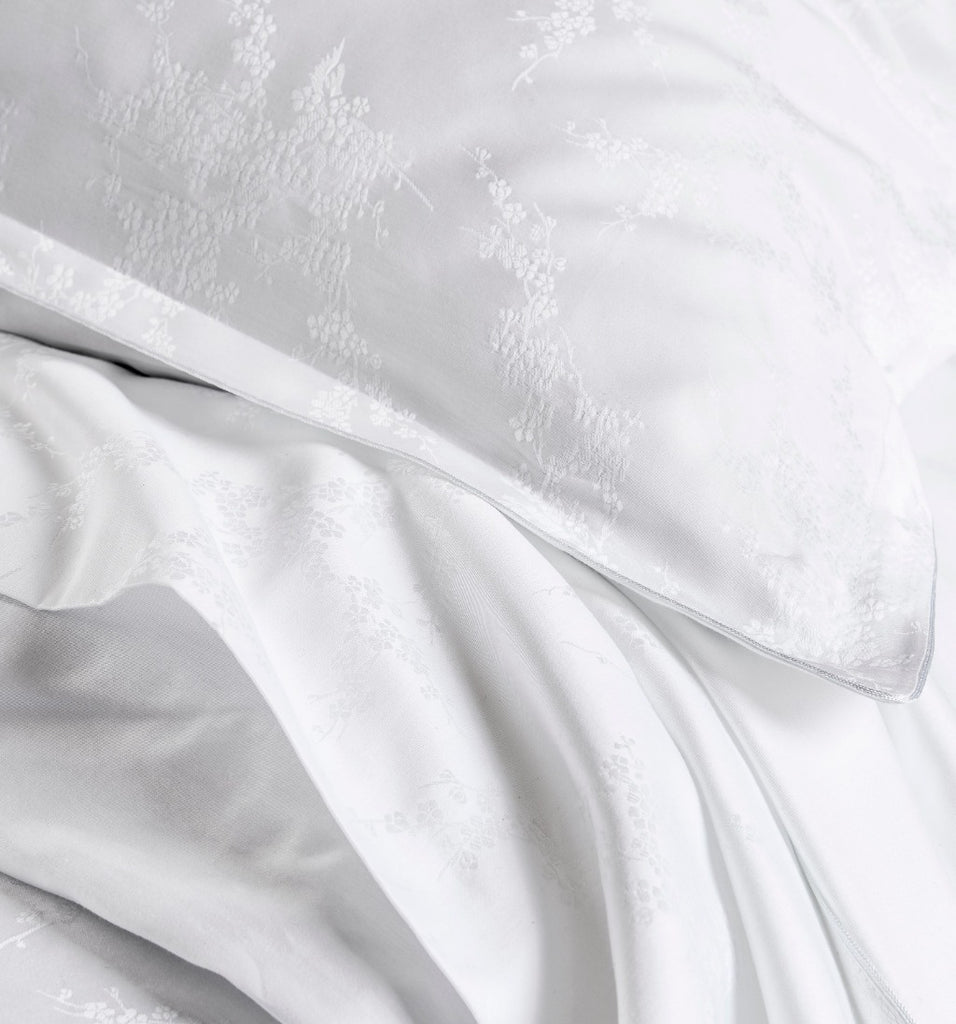 Avril White Jacquard Bedding by Alexandre Turpault | Fig Fine Linens and Home